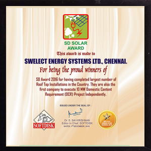 Special Award as the winners of largest numbers of Roof Top Installation in the country in 2016 and first company to execute (Domestic Content Requirement) DCR project independently