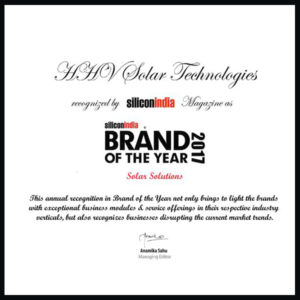 Silicon India Magazine's Brand of the Year 2017 – HHV ST