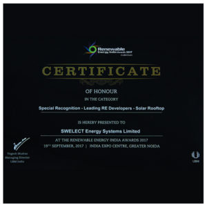 Renewable Energy India Award for Leading RE Developers – Solar Rooftop