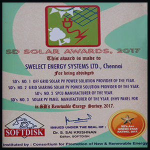 SoftDisk India (SD's) No.1 Off Grid Solar PV Power Solution Provider of the year -2017