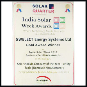 Solar Quarter's Solar Module Company of the Year – Utility Scale (Domestic Manufacturer)