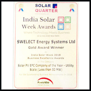 Solar Quarter's Solar PV EPC Company of the Year – Utility Scale (Less than 50 MW)